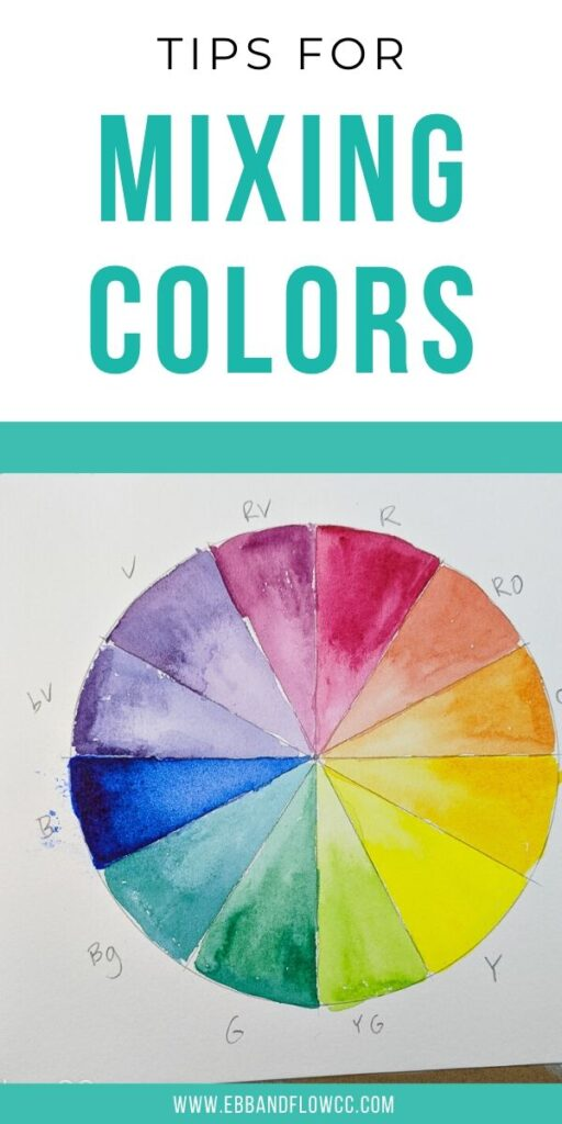 pin image - watercolor color wheel in cool tones