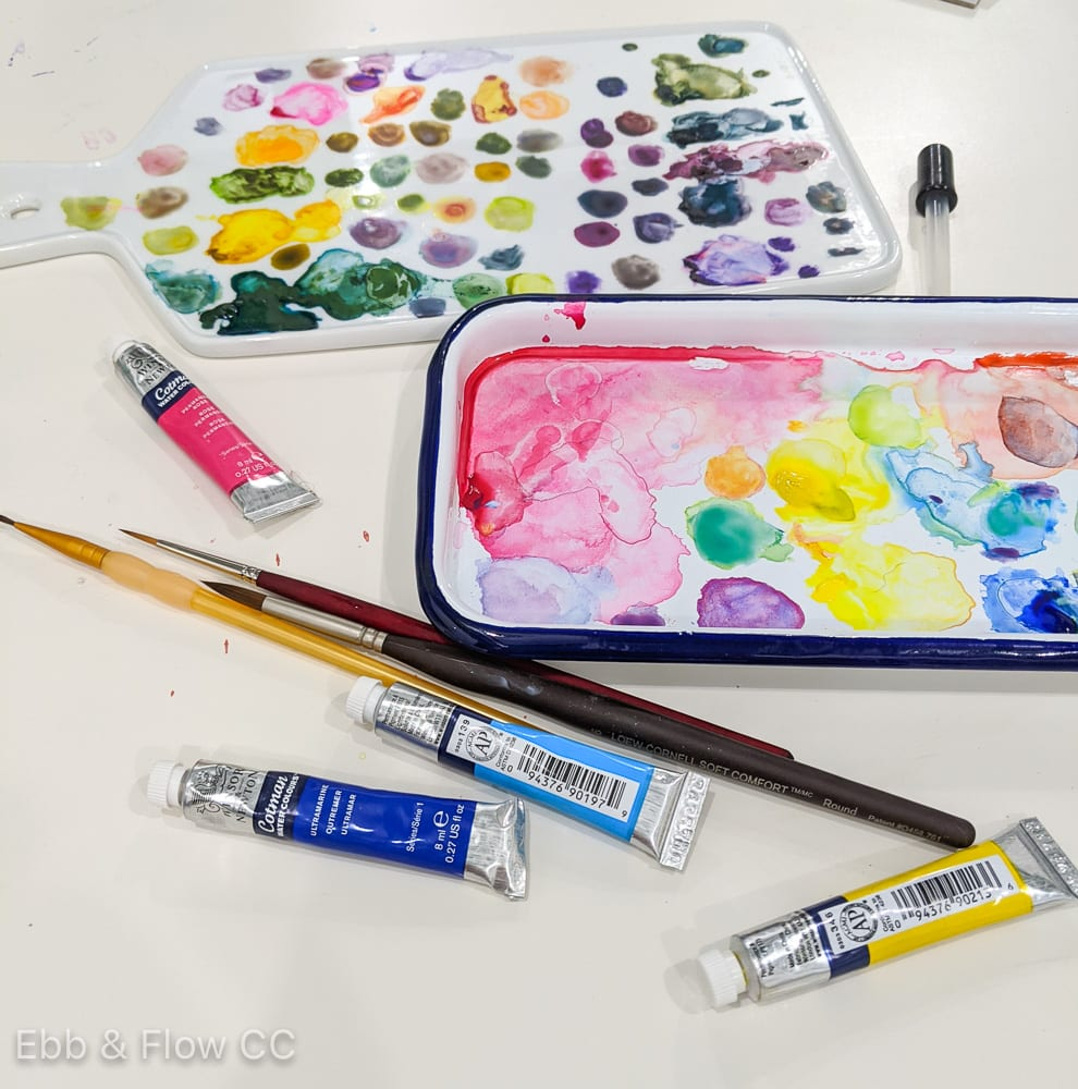 watercolor palettes and paint
