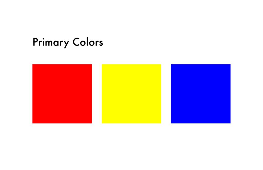 primary colors: red, yellow and blue