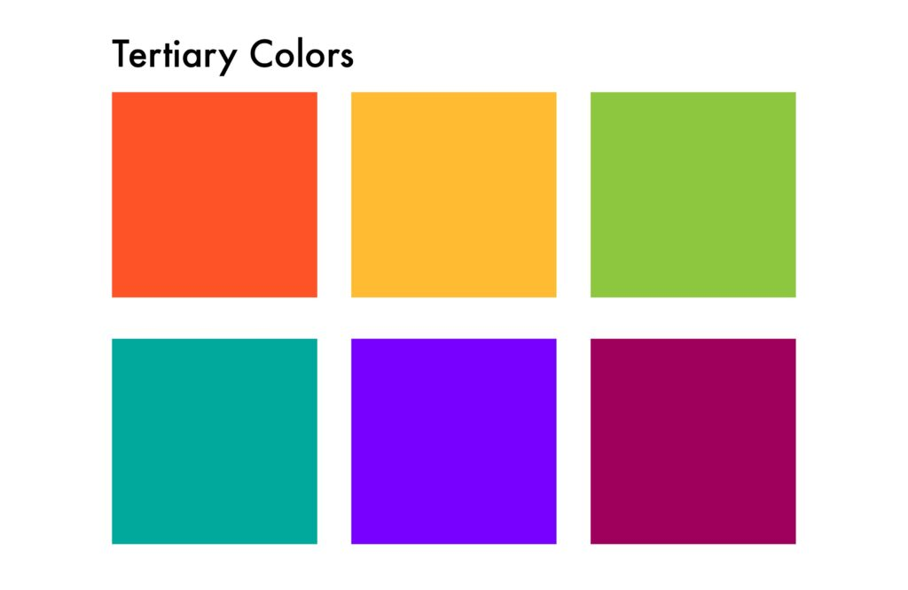 tertiary colors: red orange, yellow orange, yellow green, blue green, blue violet, red violet