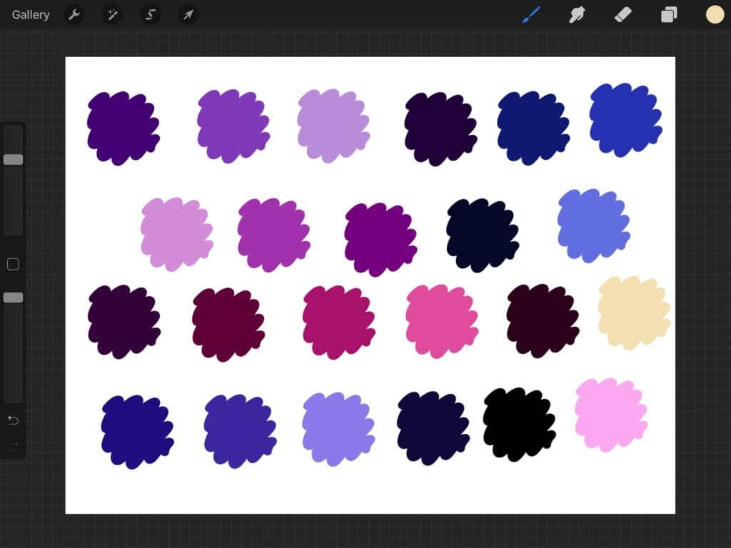 galaxy color palette for Procreate