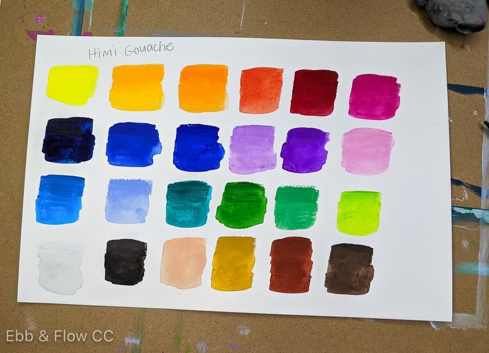 himi gouache color swatches