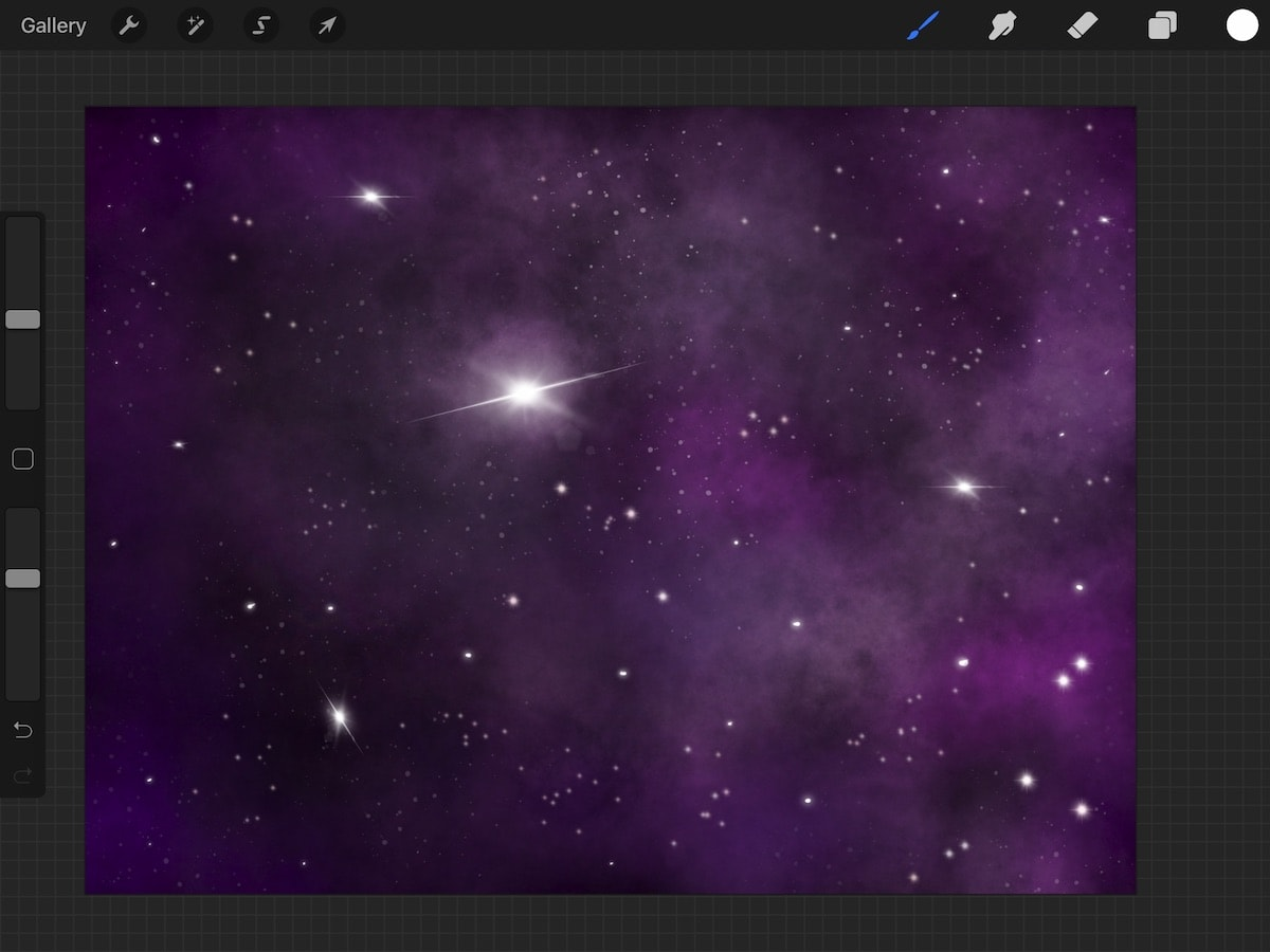 purple galaxy art created in Procreate