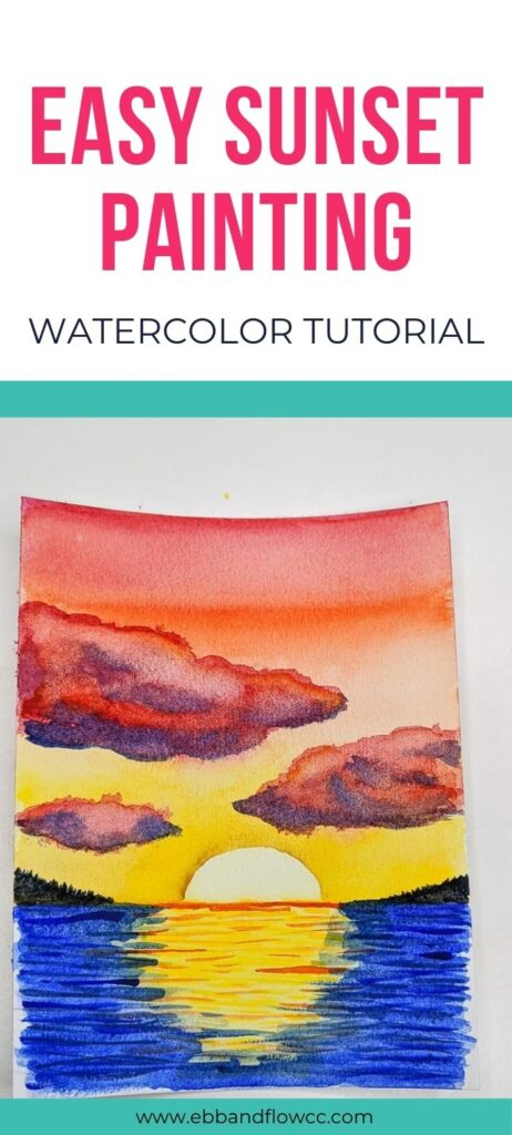 pin image - sunset watercolor painting with red sky