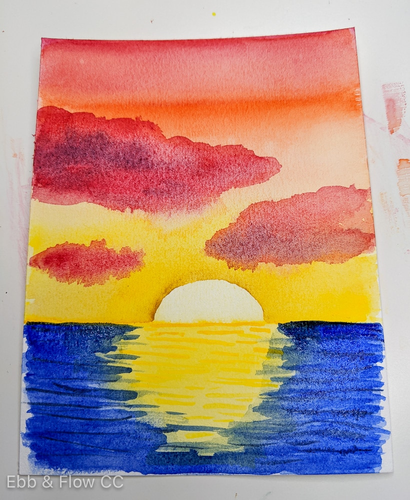 letting watercolor painting dry