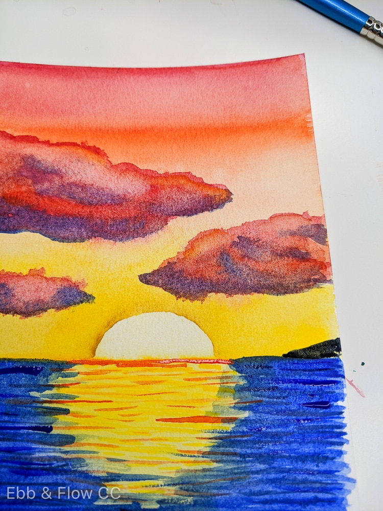 adding land to sunset painting