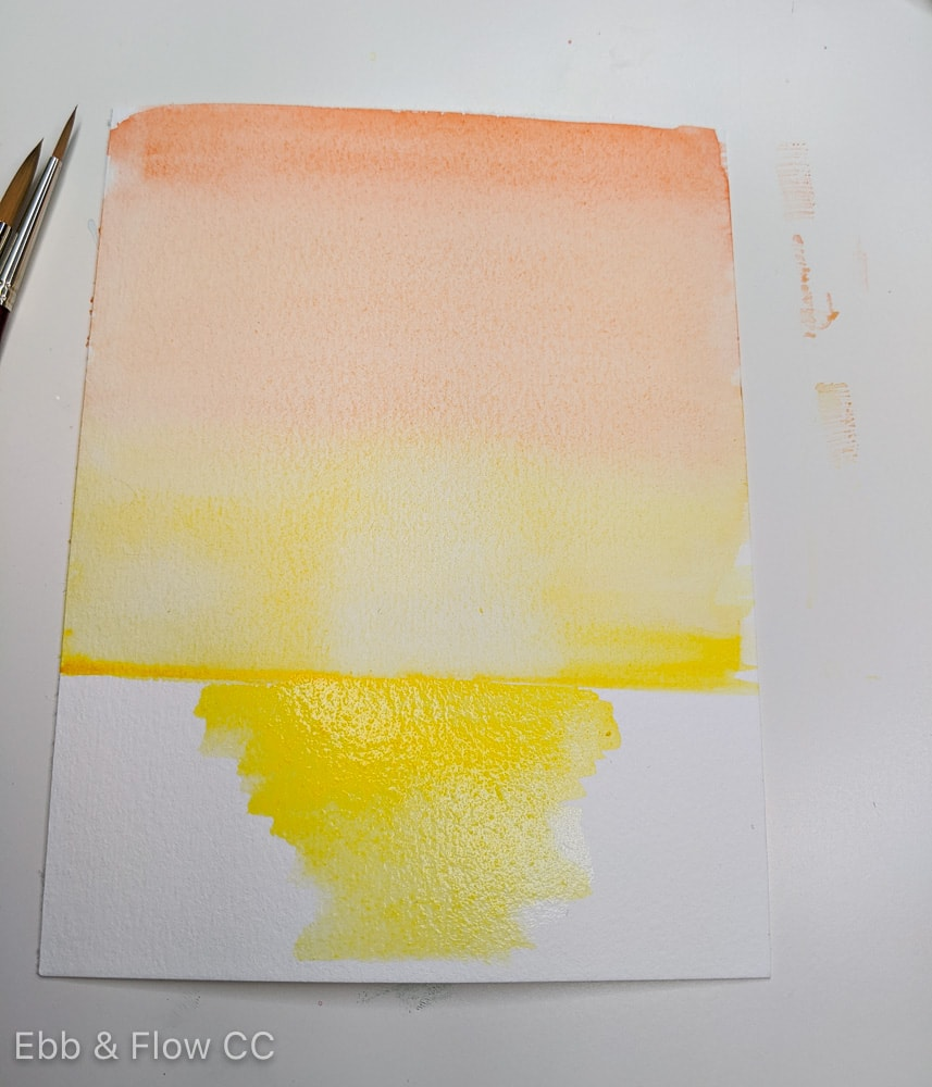 adding yellow to water in sunset painting