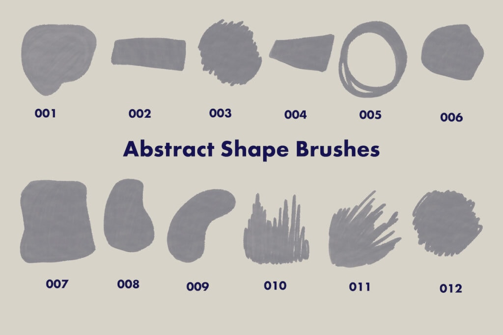 abstract shapes in brush set for procreate