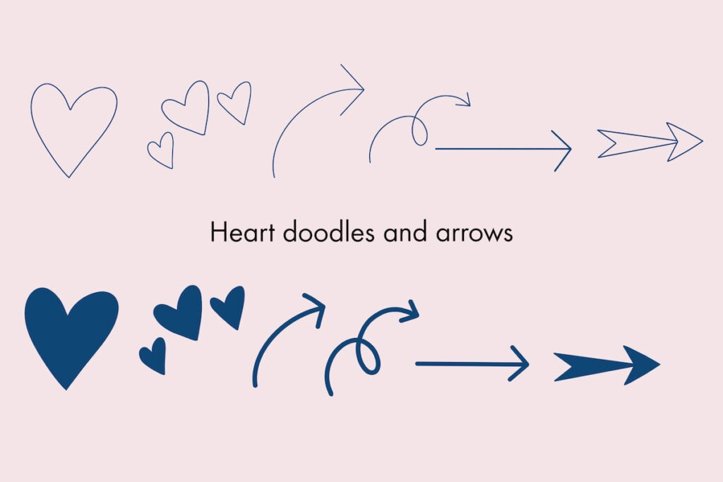 heart doodles and arrow brushes