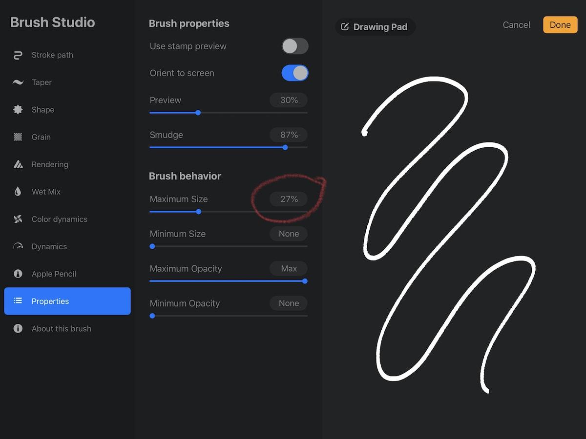 brush size settings