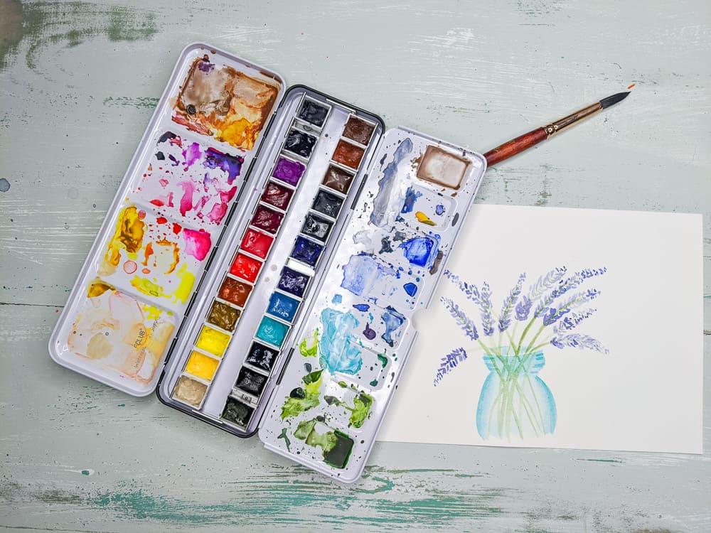 watercolor painting of lavender flowers in vase