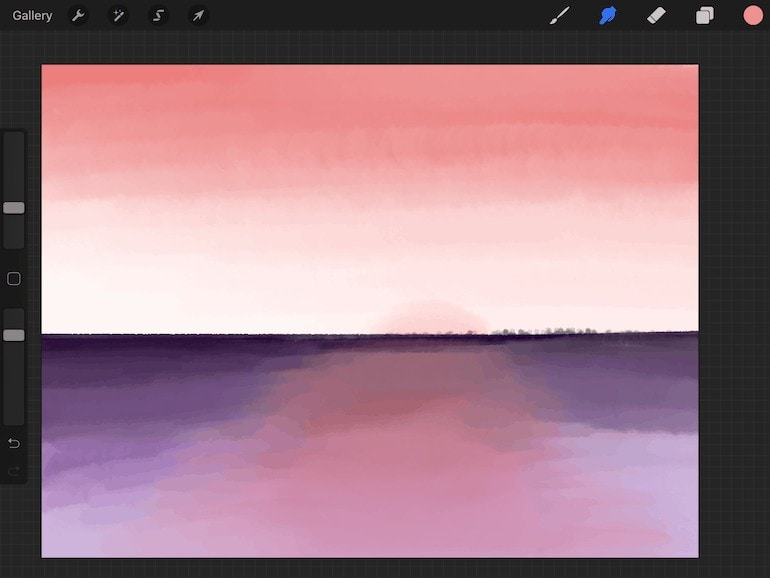sunset painted with Procreate