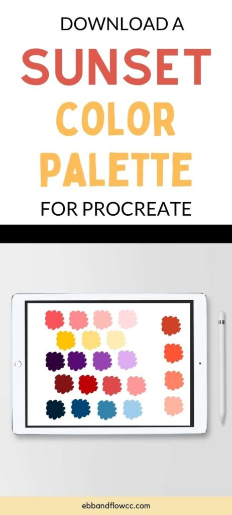 pin image - color palette on ipad mock up in sunset colors