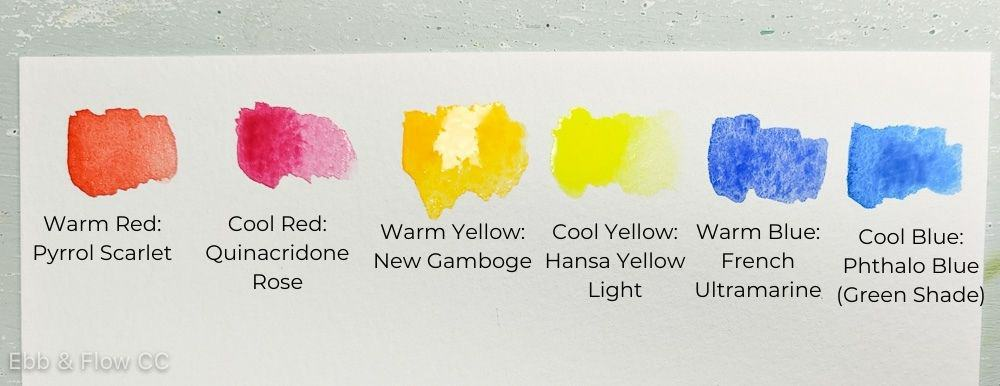 basic watercolor color swatches