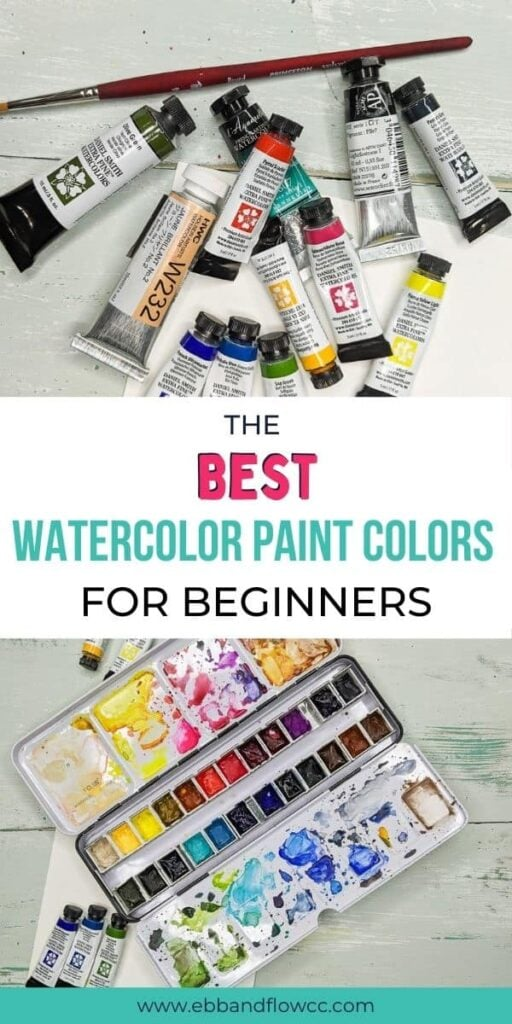 pin image - collage with watercolor tubes and watercolor palette