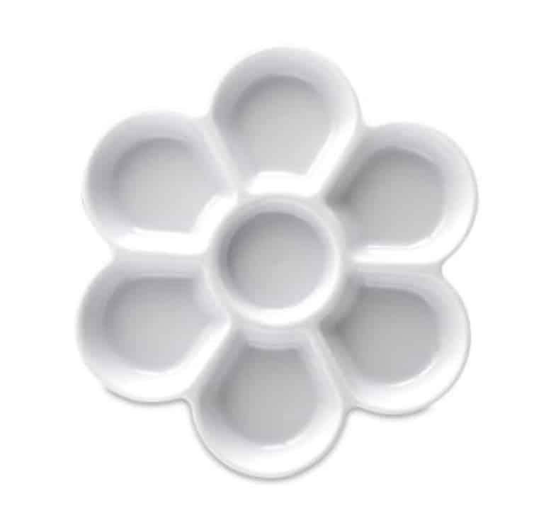 ceramic palette shaped like a flower