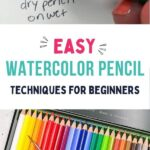 pin image - collage of watercolor pencils and drawing with a green pencil