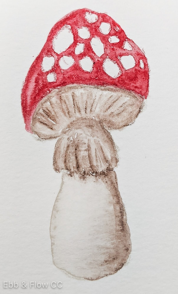 mushroom painting after adding water