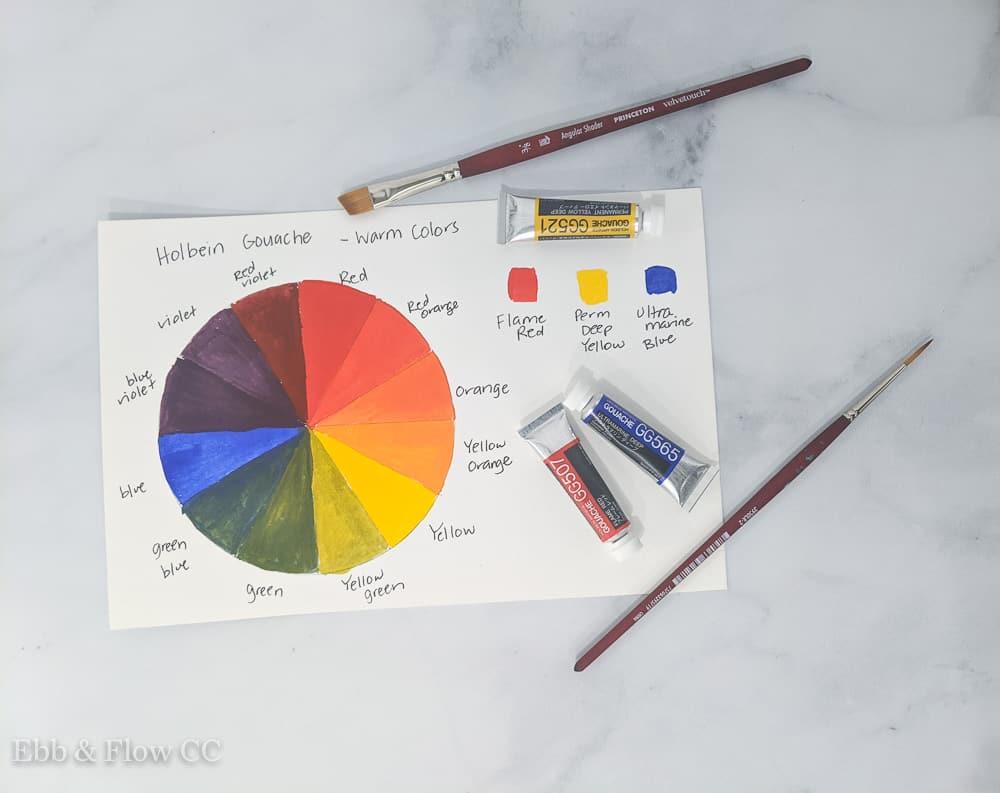 warm gouache paint colors chart