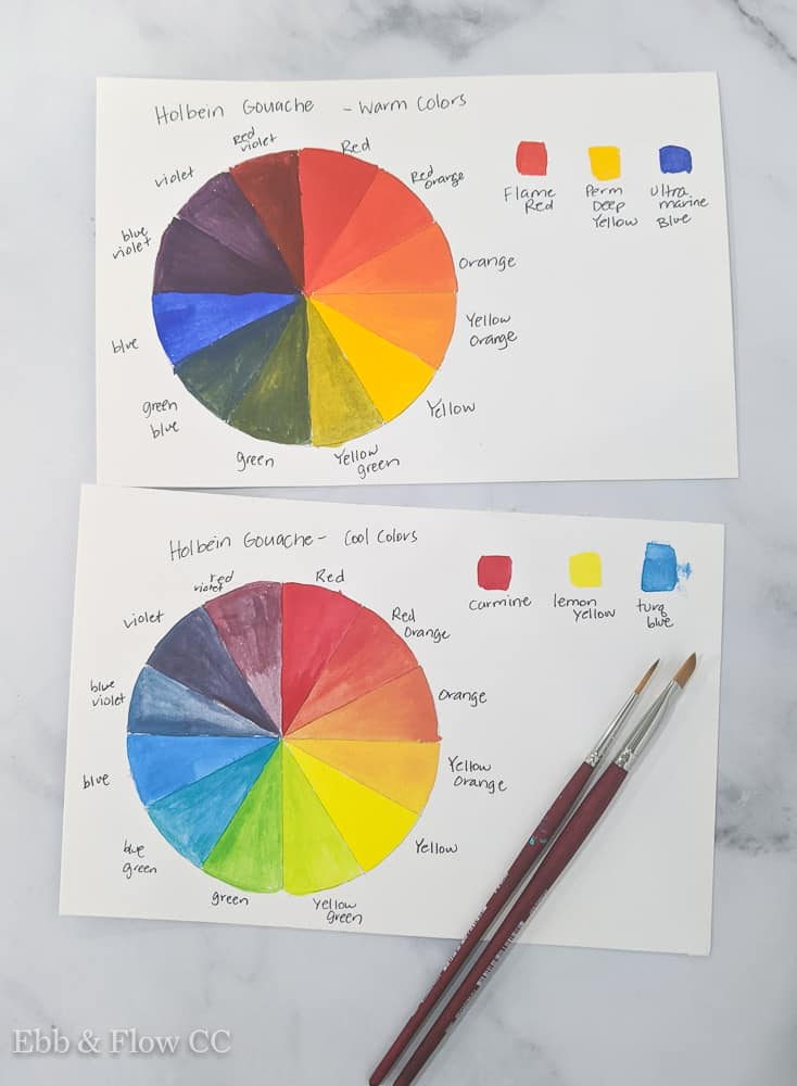color charts for warm and cool gouache colors