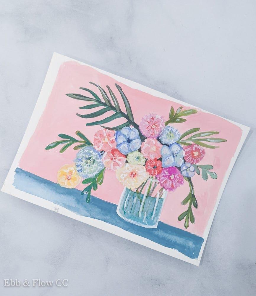 floral gouache painting