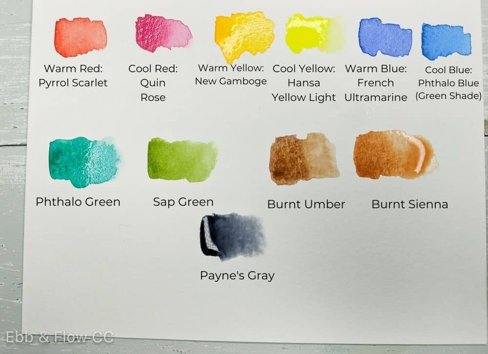 watercolor swatches for basic color