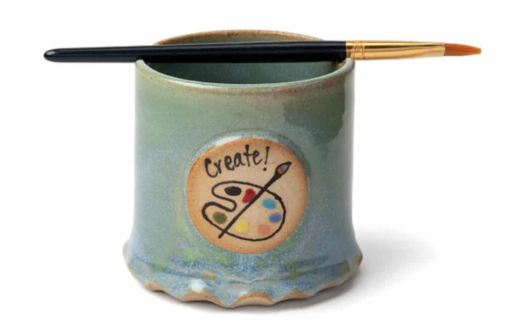 ceramic paint cup with brush