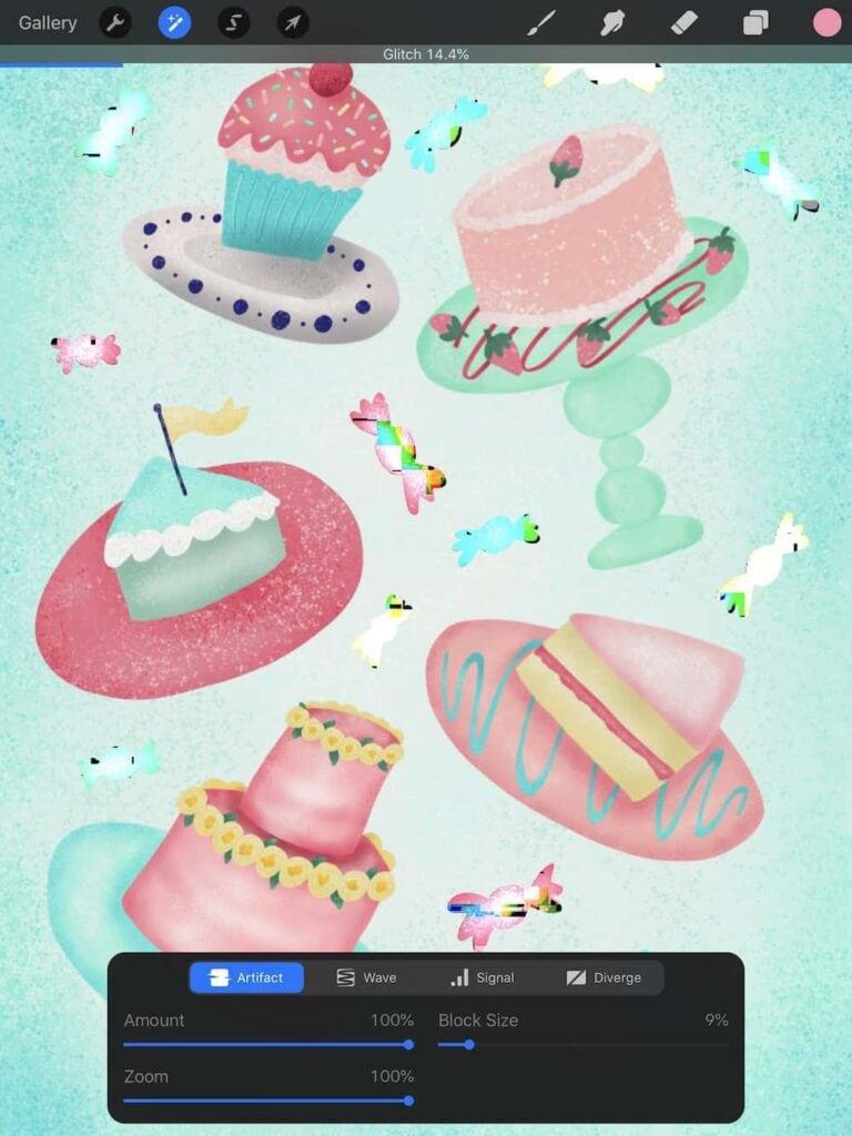 glitch effect on cake artwork