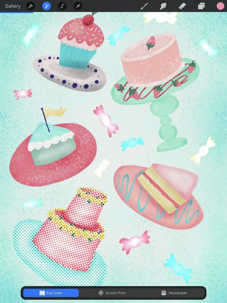 halftone effect on cake illustration