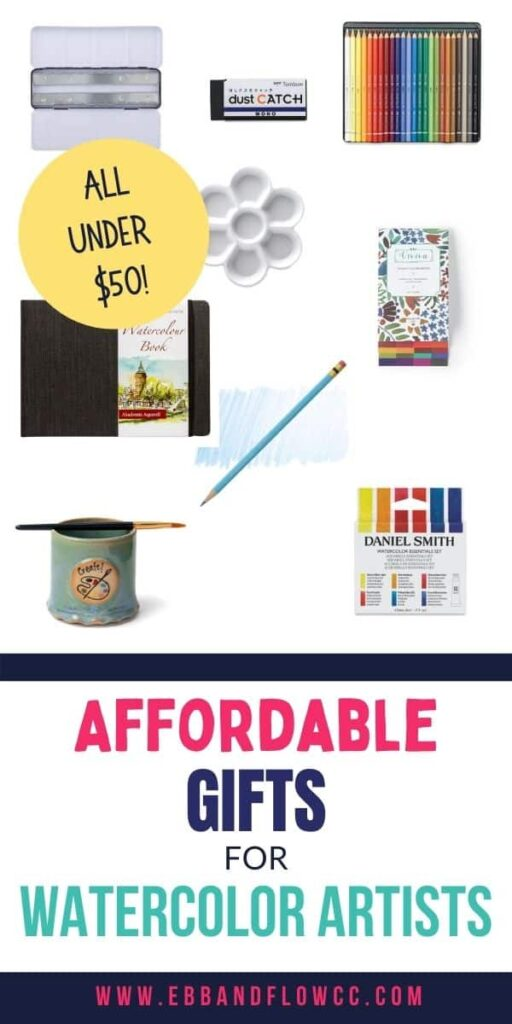 pin image - collage of watercolor supplies