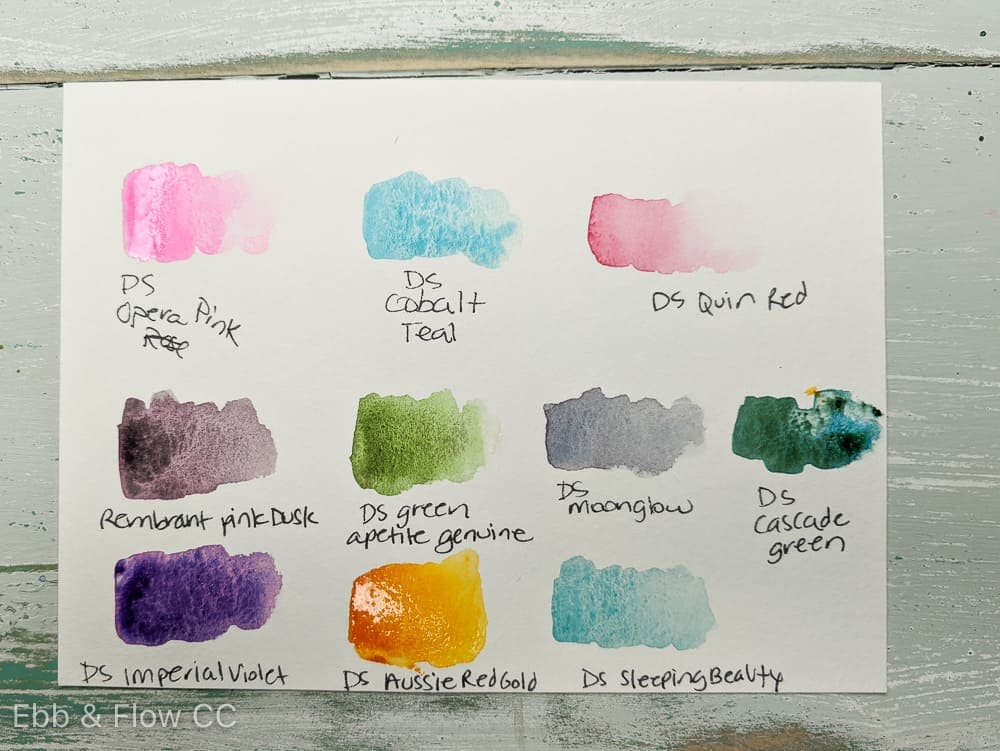other watercolor swatches with special qualities