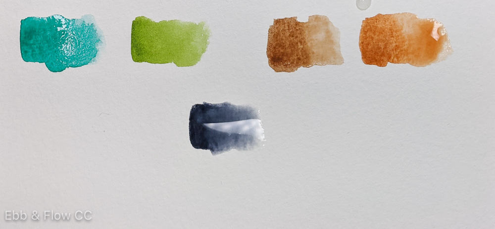greens, browns and gray watercolor paint