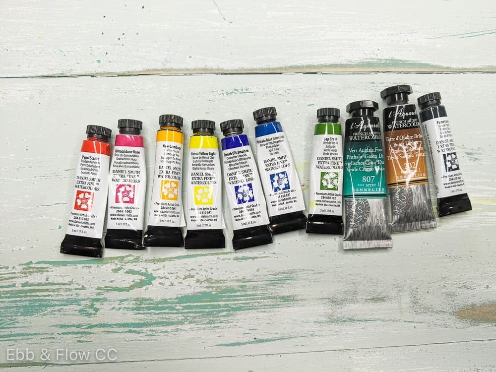 watercolor tubes in basic colors