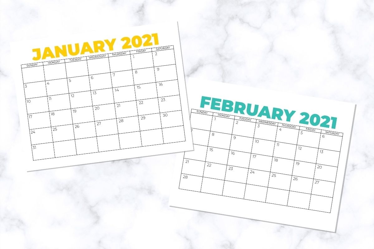 calendar pages for jan and feb 2021