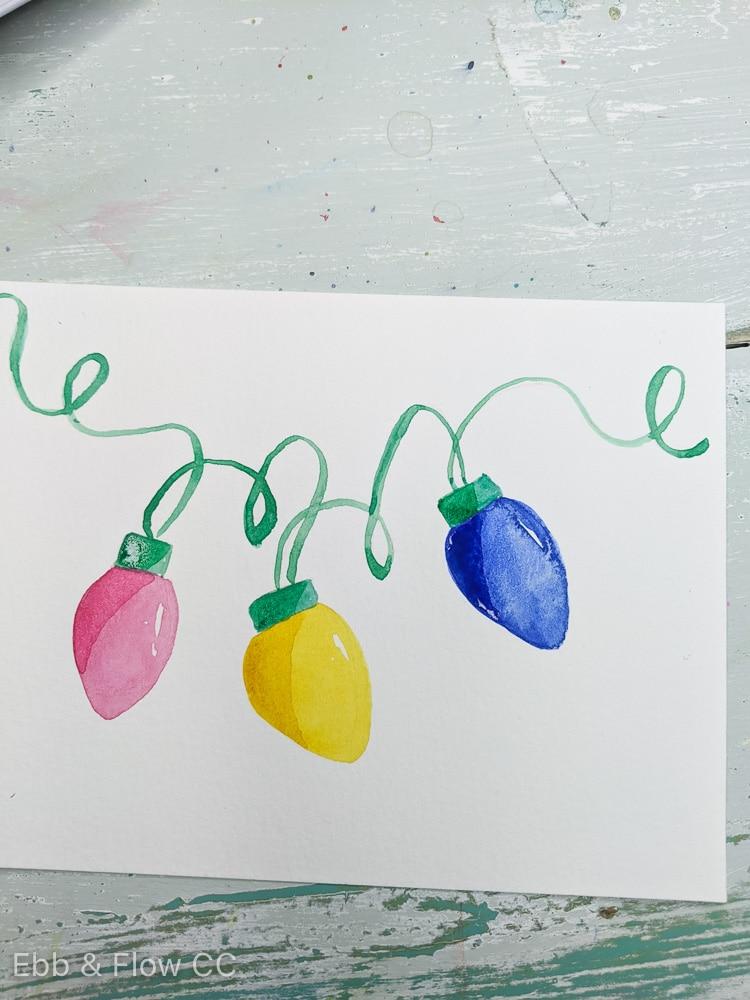 watercolor christmas lights with shadows on bulbs