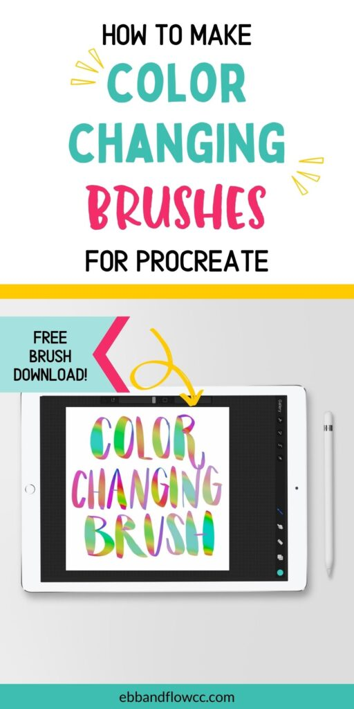 pin image- screenshot of procreate on ipad with color changing brush