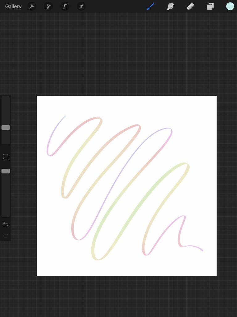 pastel rainbow line in procreate