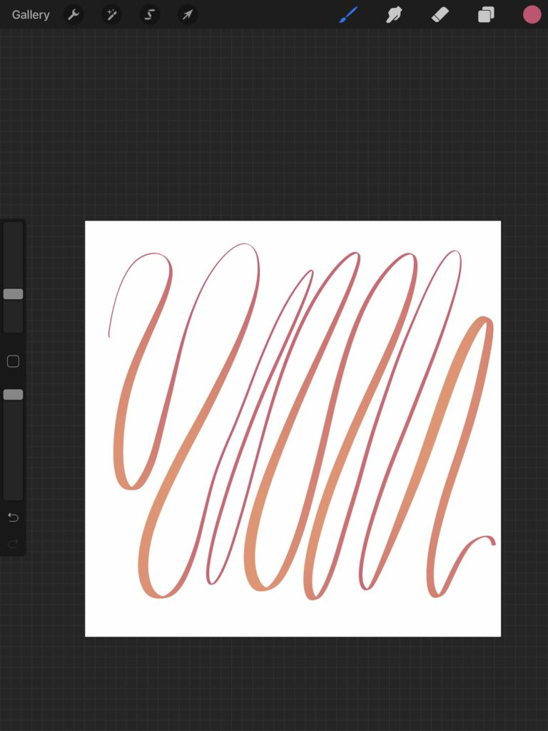 colored line changing from orange to pink