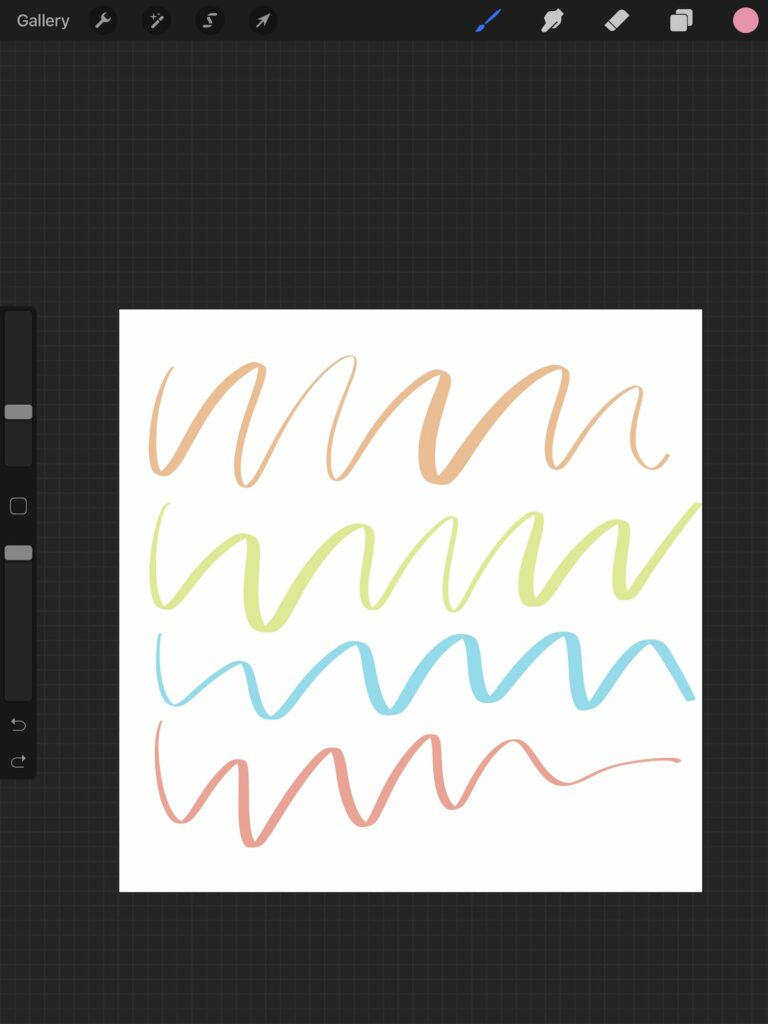 different colored lines in procreate