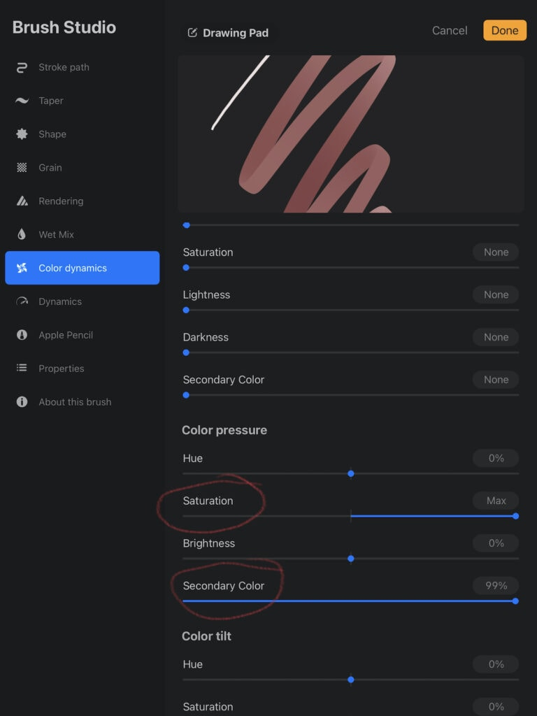 adding multiple settings in the color dynamics menu for Procreate