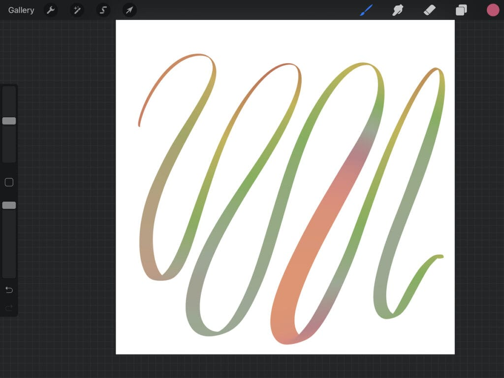 colorful rainbow stroke on Procreate
