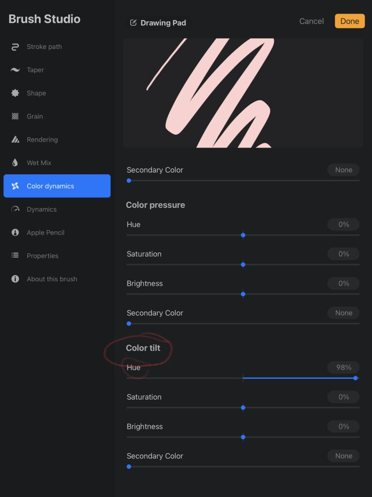 color tilt settings in Procreate