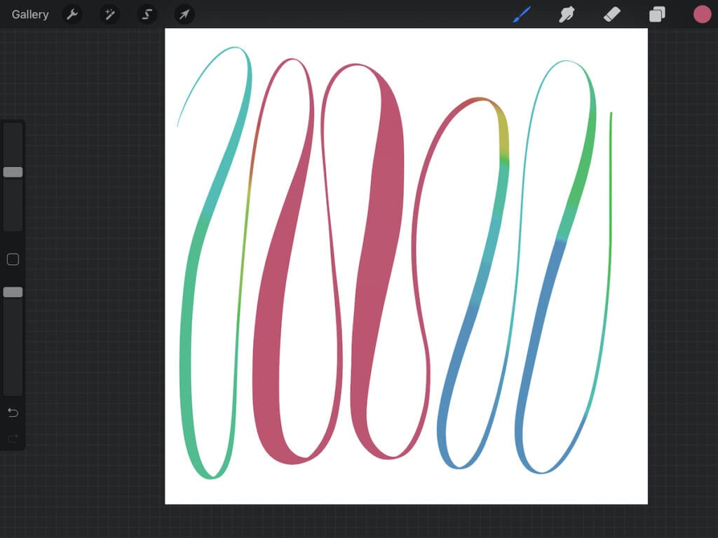 color shifting line in procreate