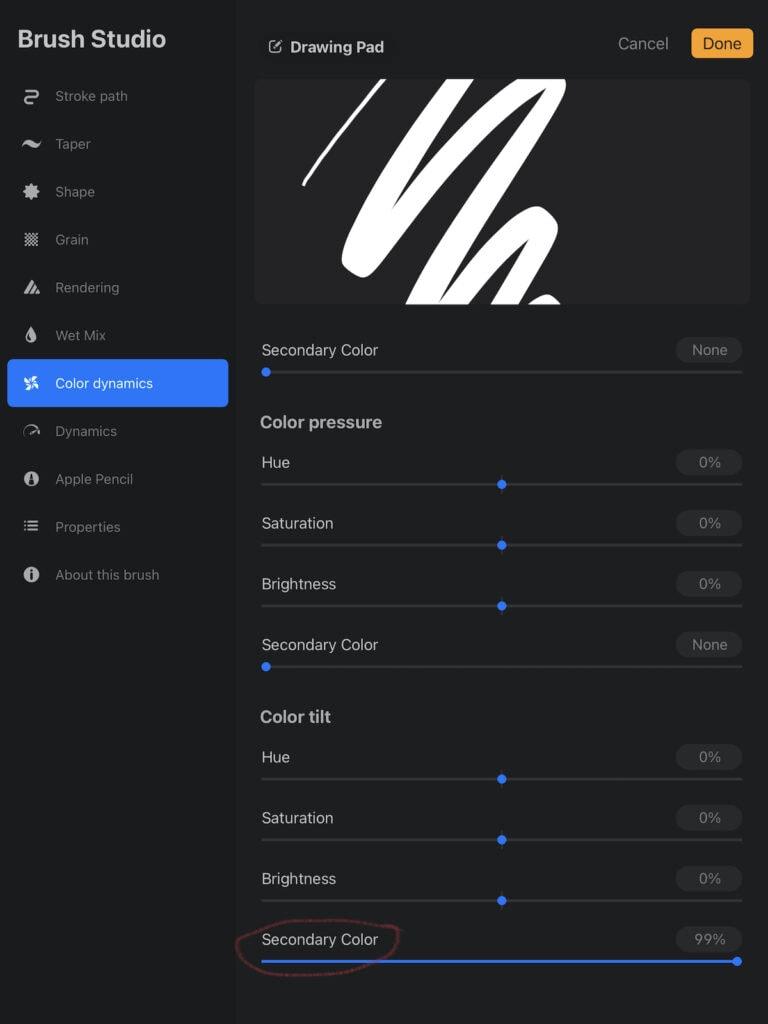 color tilt secondary color settings in Procreate