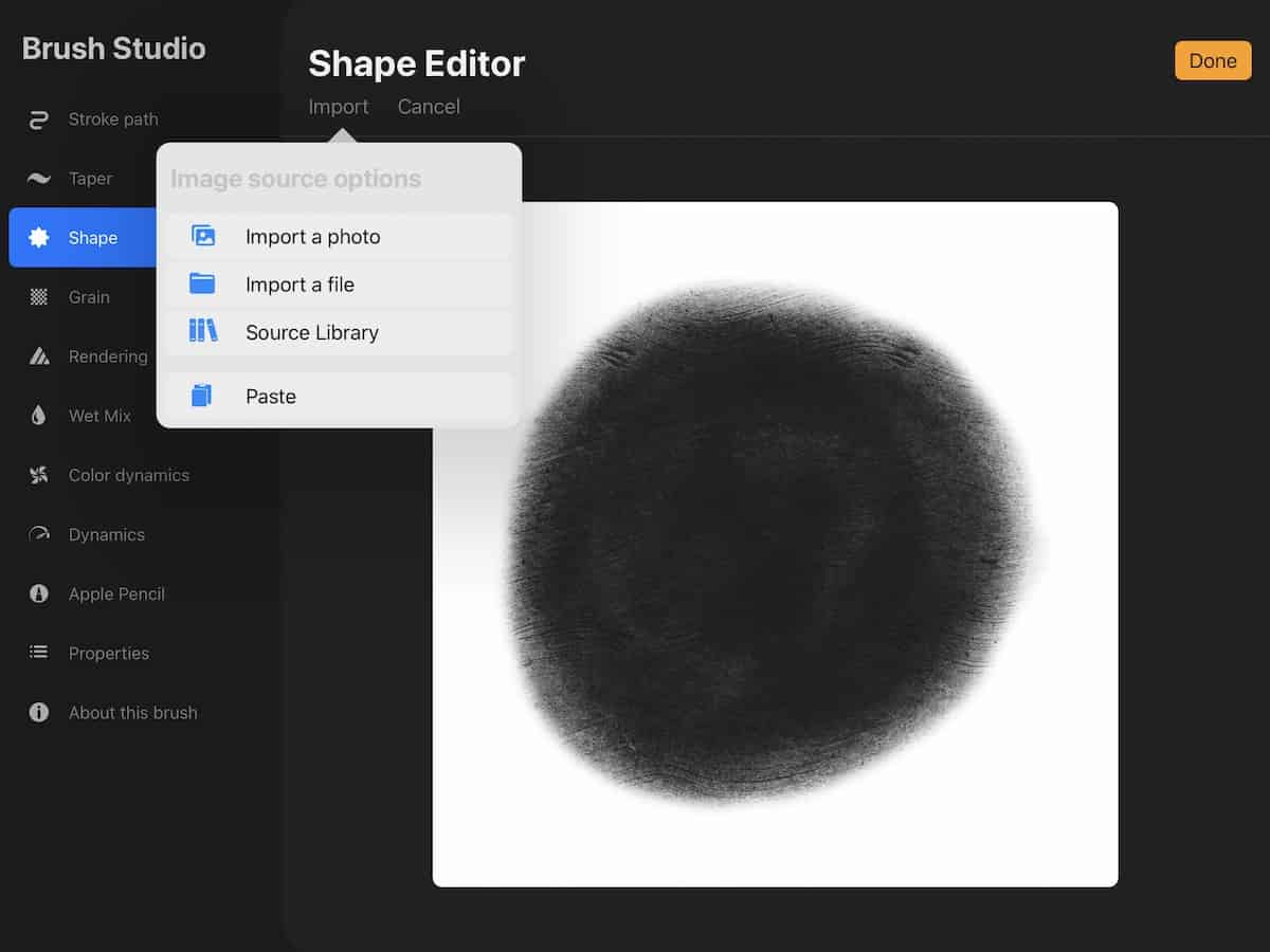 showing how to paste canvas in procreate