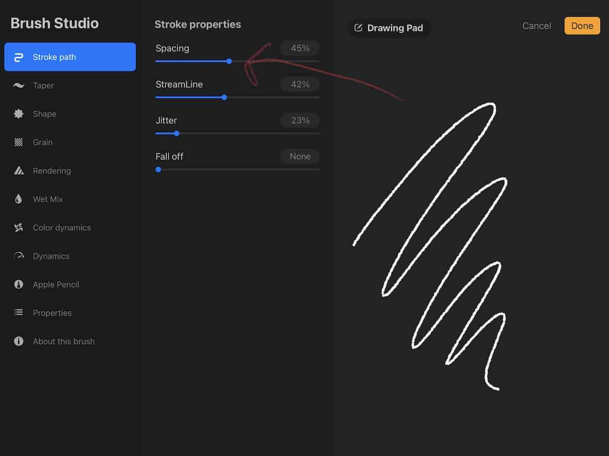 changing spacing in procreate brush studio