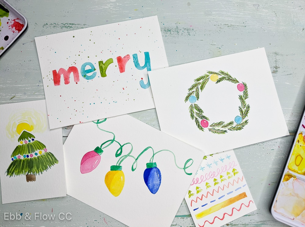 watercolor paintings for Christmas cards
