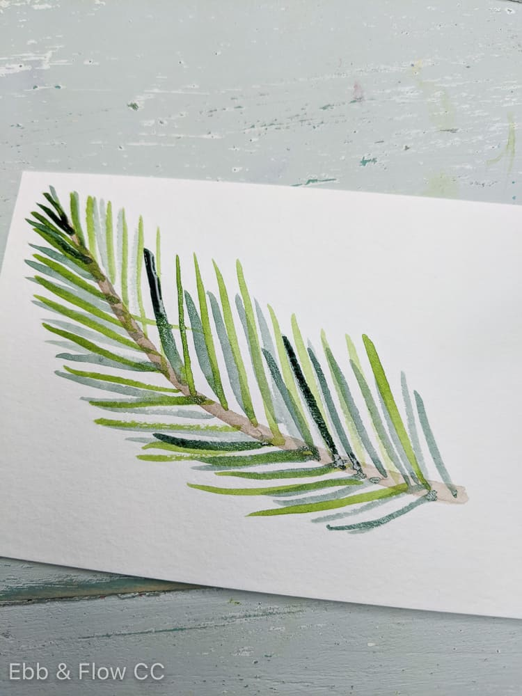 finished pine needle branch