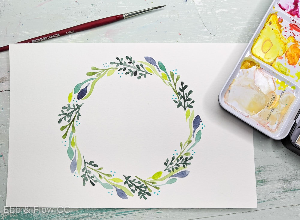 painted watercolor wreath