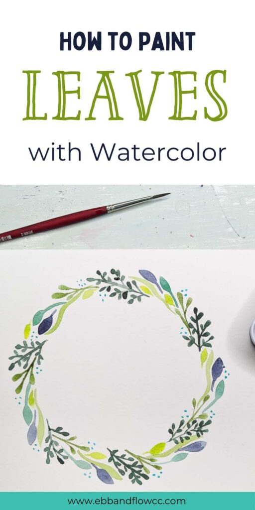 pin image - watercolor wreath with leaves